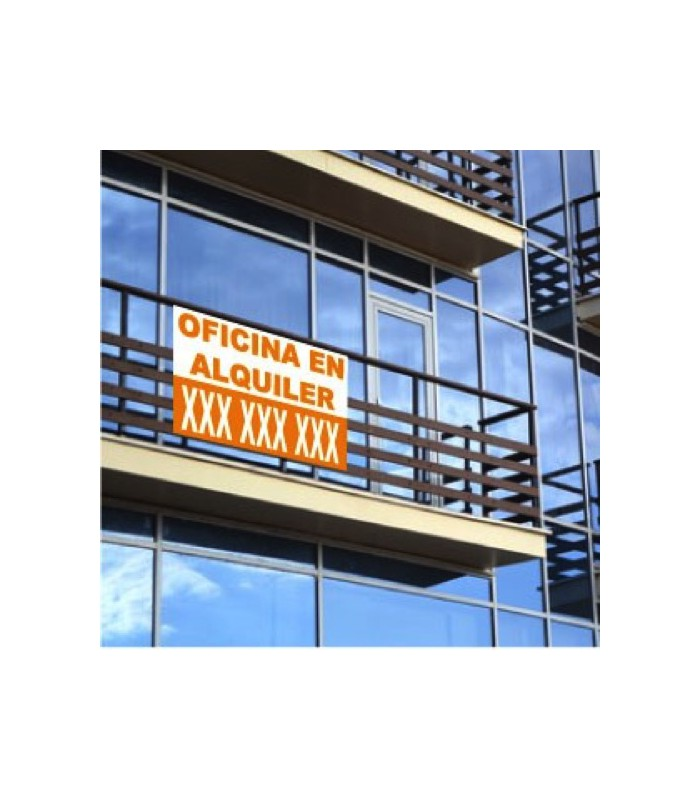 Cartel para alquilar oficinas personalizado for Cartel oficina